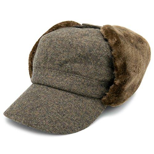 自由マイルぼんやりした帽子 メンズ CAP 秋冬 ワークキャップ 耳あて付き 防寒 機能性 CASTANO ボア耳付きツイードドゴールキャップ