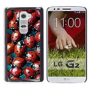 Estuche Cubierta Shell Smartphone estuche protector duro para el teléfono móvil Caso LG G2 D800 D802 D802TA D803 VS980 LS980 / CECELL Phone case / / Red Bug Spots Pattern Nature /