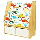 MallBest Childrens Bookshelf Kids Sling Book Rack with Two Storage Boxes and Toys Organizer Shelves Natural Solid Wood Baby Bookcase