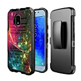 Moriko Case Compatible with Galaxy J3 TOP [Drop Protection Shockproof Defender Kickstand Holster Belt Clip Black Case Cover] for Samsung J3 (2018) J3 Orbit J3 Achieve (Stars in Space)