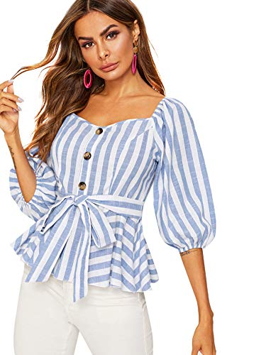 - Floerns Women's Single Breasted Striped Self Belt Ruffle Hem Peplum Blouse Tops Blue and White M