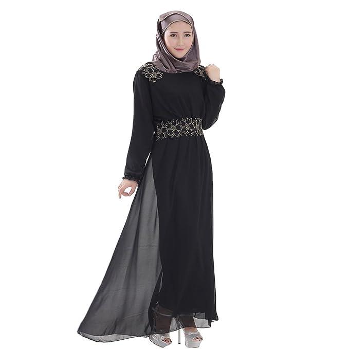 BOZEVON Mujeres Elegante Color sólido Vestido de Musulmán Árabe Túnica Manga Larga Largos Caftán Vestidos,