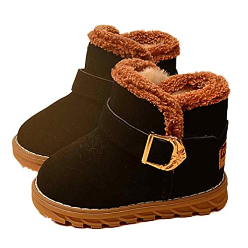 Elevin(TM)Winter Toddle Baby Boy Girl Fashion Cotton Warm Snow Boots Shoes (4-5Age, Black)