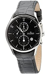 Skagen Men's 329XLSLB Black Dial Chronograph With Black Leather Band Watch