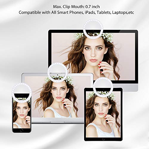 Fodizi Selfie Clip On Ring Light for Smart Phone Camera iPhone iPad Androids Vlogging on Instagram Facebook YouTube - 36 Rechargable LED Phone Light by Fodizi (Image #3)
