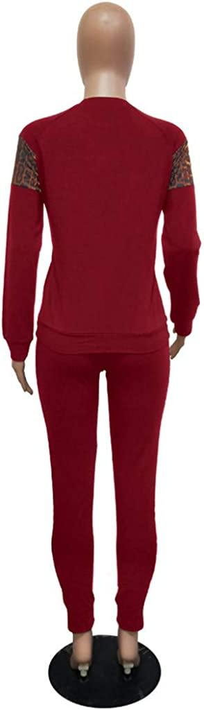 Dwevkeful Women Fashion Jumpsuits Round Neck Leopard Print Sweater Body-con Skinny Pants 2 Piece Sweatsuits Set