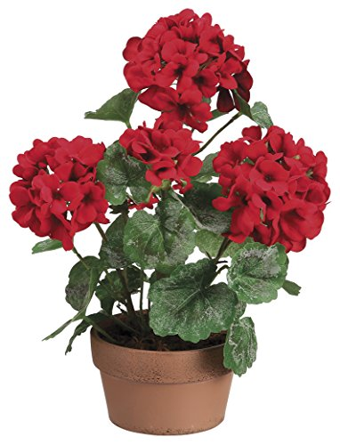 13 Inch High Artificial Red Geranium Plant In Terra Cotta Pot (Terra Pot Artificial Cotta)