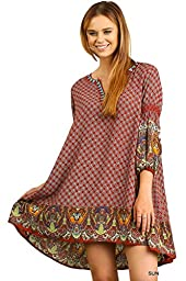 Umgee USA Women\'s Mixed Print Paisley Tunic Dress (Small, Sunset)