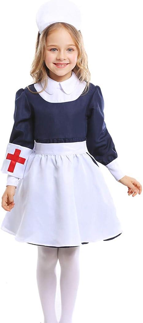 A&J DESIGN Disfraz Enfermera Niña Vestido con Cofia Manga Larga ...