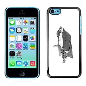 the good things GOODTHINGS Funda Imagen Diseño Carcasa Tapa Trasera Negro Cover Skin Case para Apple Iphone 5C - hombre del arte del lápiz gris grande dibujo errante
