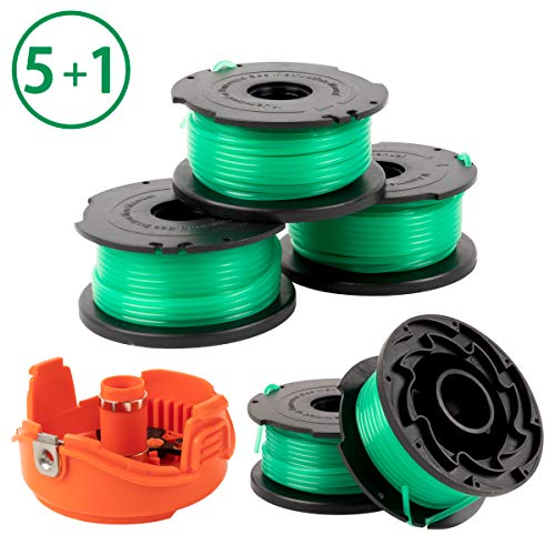 X Home Trimmer Replacement Spools Compatible with Black Decker SF-080 GH3000 LST540 Weed Eater, 20ft 0.080 inch Edger Refills, Auto-Feed Single Line Cord Parts, 90583594 Cover Cap (5 spools, 1 Cap)