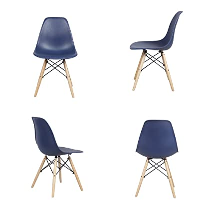Pleasant Amazon Com Dsw Eames Style Navy Blue Armless Side Dining Unemploymentrelief Wooden Chair Designs For Living Room Unemploymentrelieforg