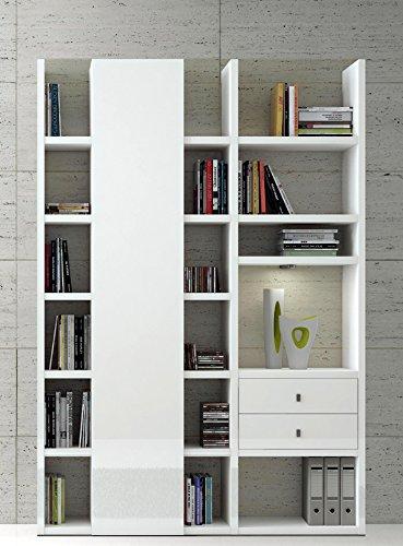 wohnwand b cherregal hochglanz wei aktenregal wandregal. Black Bedroom Furniture Sets. Home Design Ideas