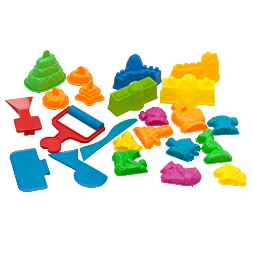 USA Toyz Play Sand Toys for Kids - 23 Pc Kids Sand Toys Play Sand Kit with Play Sand Castle Molds + 5 Magic Sand Art Tools for Kinetic Play Sand ()