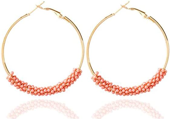 Ladies Hoop Earrings Beaded Hoop Silver Earrings Silver Feather hoops Bohemian Earrings
