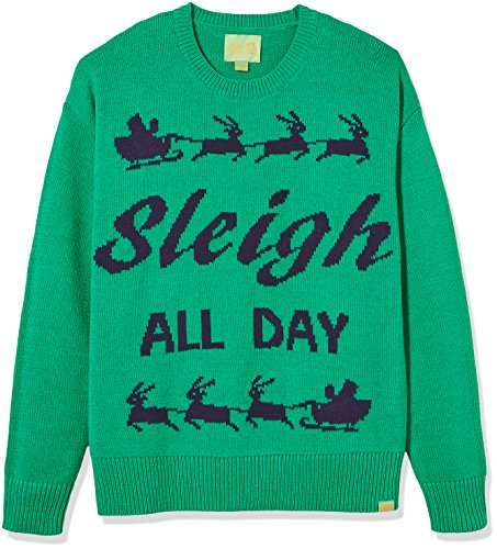 Ugly Fair Isle Unisex Jacquard Sleigh All Day Crewneck Christmas Sweater Small Green/Navy Small Green/Navy