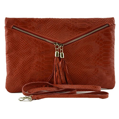 Woman Leather V Printed Closure In Clutch Color Made Bag Leather With Italy Red Python Tuscan Genuine Zip q8xZxwtvB