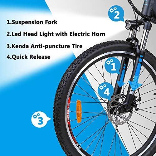 Macwheel 27.5″ Electric Mountain Bike, Rear Hub Brushless 500W, Removable 480Wh 48V/10ah Lithium Battery, Shimano 7-Speed, Suspension Fork, Tektro Dual Disc Brakes, Mountain eBike Black
