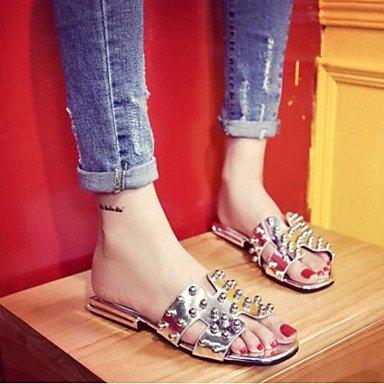 UK3 zapatos tacones UE36 CN35 5 sandalias US5 Silver de Confort PU Verano Moda de Mujer UE azul 5 casuales RUGAI Zzaqn04