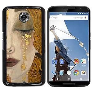 """Pulsar Snap-on Series Teléfono Carcasa Funda Case Caso para Motorola Google NEXUS 6 / XT1100 , Rubia Cara Cabello Labios Cry Sad"""""""