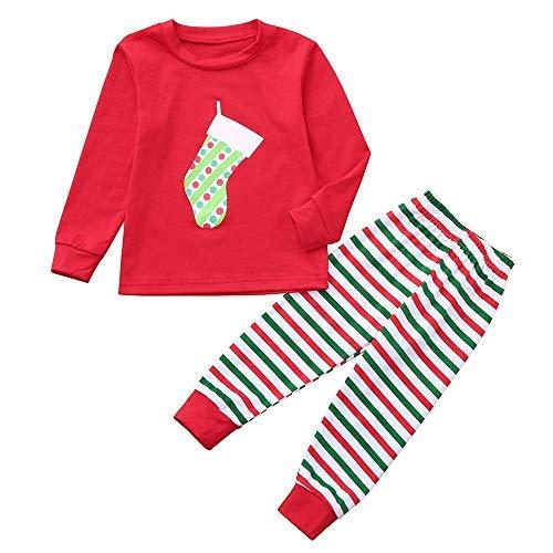 Haluoo Matching Family Christmas Pajamas Striped Xmas Sleepwear Nightwear Nightgown Pyjamas Gift 2 Piece Pjs Set (Kids (Red),4-5 Years)