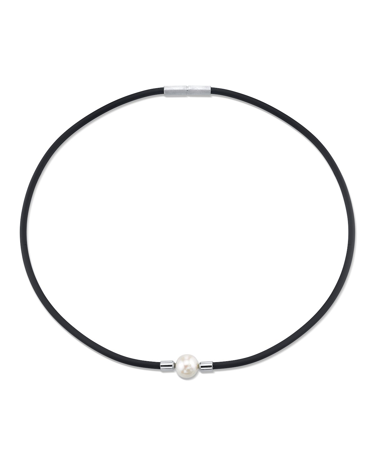 9-10mm Genuine White Freshwater Cultured Pearl & Rubber Katie Necklace for Women