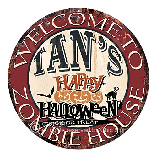 Welcome to The IAN'S Happy Halloween Zombie House Chic Tin Sign Rustic Shabby Vintage Style Retro Kitchen Bar Pub Coffee Shop Man cave Decor Gift -