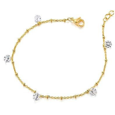 COOLSTEELANDBEYOND Acero Inoxidable Color Oro Tobillera para Mujer con Zirconio Cúbico y Cascabel