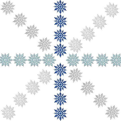 Zhehao 32 Pieces 4 Inch Christmas Glitter Snowflake Hanger Plastic Snowflake Ornaments and Silvery Cords for Christmas Decoration, White/Blue/ Silver/Turquoise -