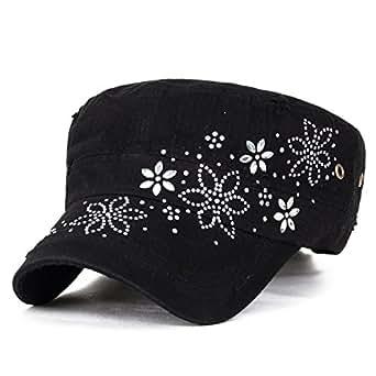 ililily Crystal Gemstone Stud Flower Vintage Cotton Military Army Hat Cadet Cap Black