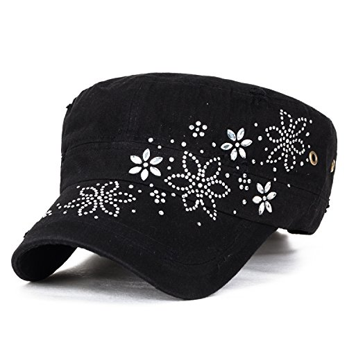 ililily Crystal Gemstone Stud Flower Vintage Cotton Military Army Hat Cadet Cap, Black