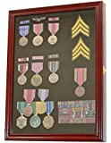 Medal Pin Patch Insignia Ribbon Display Case Cabinet Shadow Box Wall Frame, Lockable, MPC01-CH