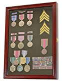 Military Medals, Pins, Patches, Insignia, Ribbons, Flag Display Case Cabinet Shadow Box Frame, Cherry Finish MPC01-CH