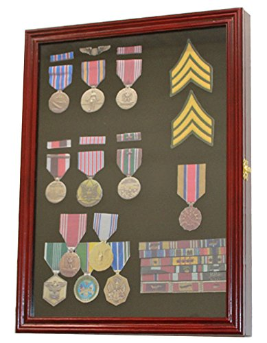 Military Medals, Pins, Patches, Insignia, Ribbons Display Case Wall Frame Cabinet (Cherry Finish)