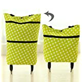 WWJ Portable shopping bag/old man/back folding shopping cart shopping cart shopping car/tug/the hand-bags/handbags , green dots