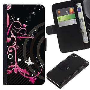 KLONGSHOP // Tirón de la caja Cartera de cuero con ranuras para tarjetas - Corazones negros primavera floral de la mariposa - Apple Iphone 6 //