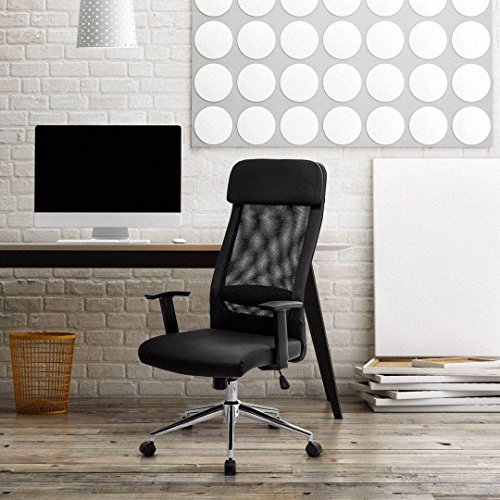 KADIRYA Extra High Back Mesh Office Chair - Computer Desk Task Chair with Padded Leather Removeable Headrest and Seat,Adjustable Armrest, Ergonomic Design for Back Lumbar Support, Black (Black) Photo #6