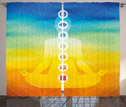 "Ambesonne Chakra Curtains, Gradient Colored Digital Female Human Body with Central Chakra Points Design, Living Room Bedroom Window Drapes 2 Panel Set, 108"" X 90"", Blue Orange"