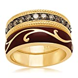 18k Yellow Gold Plated Sterling Silver Champagne Diamond Enamel Stack Ring (1/2 cttw), Size 6