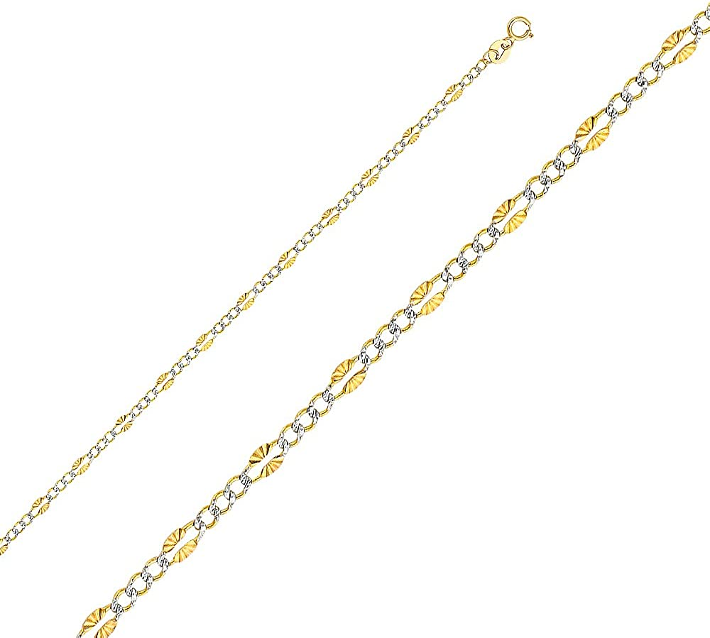 Ioka 14K Yellow Solid Gold 1.5mm Flat Mariner Chain Necklace with Spring Ring Clasp