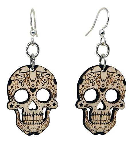 Sugar Skulls Dangle Earrings, Wood with Surgical Steel Hooks (Skull Dangle)