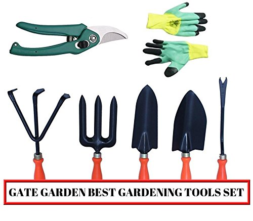 Kraft Seeds Gate Garden Spectacular Gardening Tools Set with Heavy Gardening Cut Tool and One Pair Hand Gloves (Orange Handle and Black Metal) product image