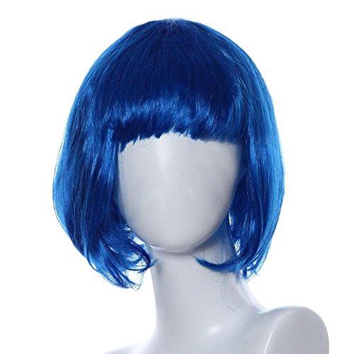 Wigs, FTXJ Bright Color Masquerade Small Roll Bang Short Straight Bobo Hair Wig (Bright Blue Wigs)