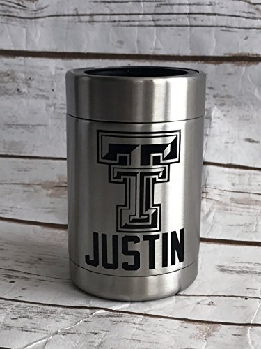 Texas Tech Can Holder Personalized Steel Double Wall Insulated Can Holder - Personalized Can Holder - Can - Groomsmen Gifts - Gifts for Him (Texas Glassware Tech)