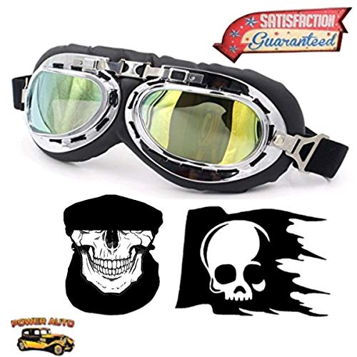 Vintage Motorcycle Goggles UV Steampunk Sunglasses - Mask...