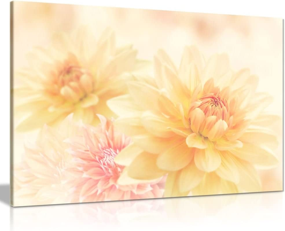 Cream Yellow Pink Flowers Off White Canvas Wall Art Picture Print (12x8in)