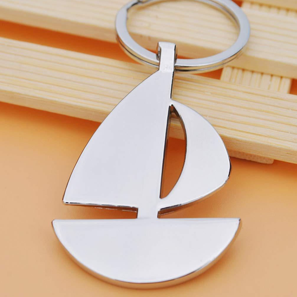 STOBOK 10pcs Sailboat Keychains Metal Sailboat Charms Nautical Key Rings Car Bag Charm for Kids Adults Silver