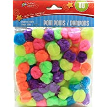 (Pack of 2) Crafter's Square 80 Count Multi-Color Pom Poms (Neon)