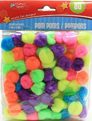 (Pack of 2) Crafters Square 80 Count Multi-Color Pom Poms (Neon)