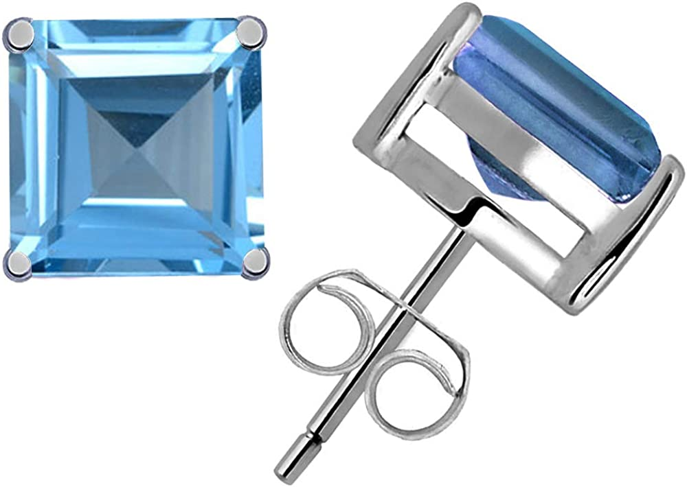 Square 4x4mm Aqua Blue CZ Rose Gold Plated Sterling Silver Stud Earrings
